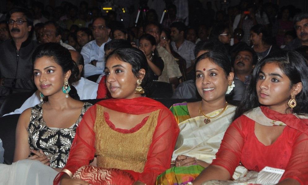 Saranya Ponvannan with her Daughters @ Thalaiva Audio Launch Stills